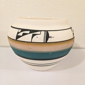 Navajo Pottery Vase Hand Painted Signed